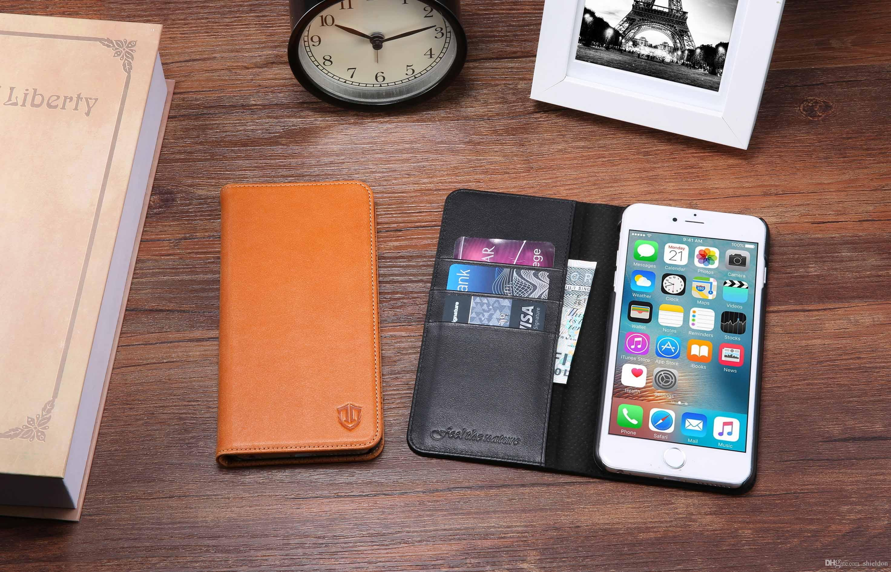 8f47a8570e3 For IPhone 6 Case, SHIELDON Genuine Leather Wallet Case Magnetic ...