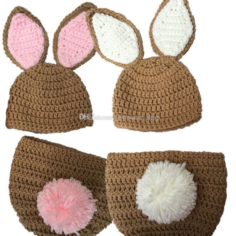 Muy lindo traje de conejito recién nacido, hecho a mano de ganchillo bebé niño niña gemelos conejo Animal Hat y pañal cubierta conjunto, Toddler Pascua fotografía Prop