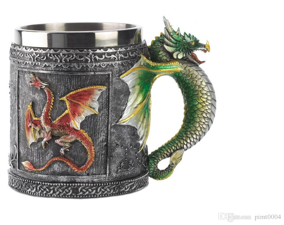 Vintage Style stainless steel cups dragon cup coffee mug