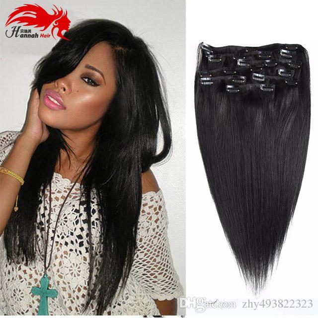Hannah product Clip completa capelli nelle estensioni dei capelli naturali. Clip di capelli neri naturali. 10 pezzi. Clip di capelli brasiliana diritta nelle estensioni