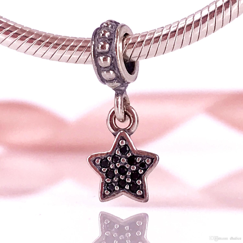 6bd60963e 2019 European DIY Style Authentic 925 Sterling Silver Black Star Pave  Dangle Charm Fit DIY Pandora Bracelet 791024NCK From Dhalice, $9.13 |  DHgate.Com