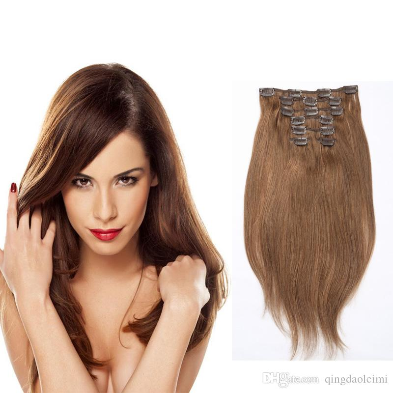 Thick Full Head Straight Clip Inon Human Hair Extensions Machine