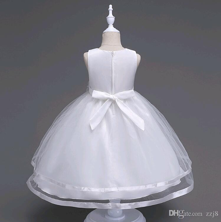 Simples Meninas Vestido de Noiva Vestido de Princesa Frisado Cor Sólida Malha Mid Bezerro Comprimento Vestidos para Crianças tamanho 3-14 anos