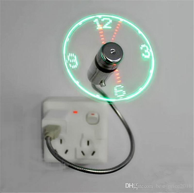 2017 새로운 미니 USB 팬 가제트 유연한 구즈넥 LED 시계 쿨 노트북 PC에 대 한 노트북 시간 디스플레이 고품질 내구성 가변