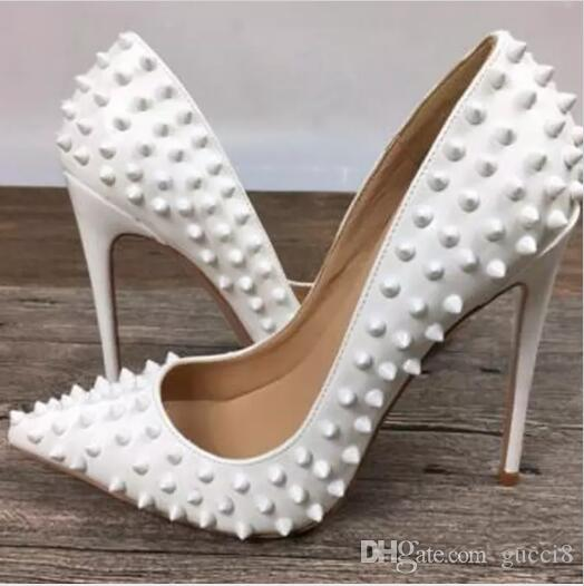 a194eacf18becf 12CM High Heels So Kate Wedding Pumps Women Red Bottom Rivets Spikes  Pointed Toe Sexy Ladies Pumps Thin High Heels White Single Shoes Orthopedic  Shoes ...