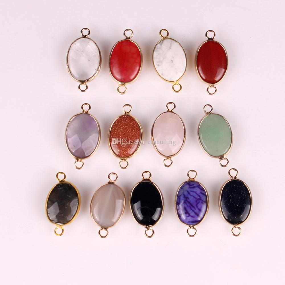 Oval Gold Plated Natural Stone Charms Pendant Druzy Quartz Crystal Agate Jade Bracelet Necklace Connector DIY Fashion Jewelry Making