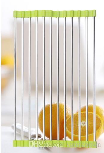 Kitchen Sink Dish Rack Drainer 37 x 23CM Stainless Steel Silicone Non-slip Folding Drying Rack Holder For Bowl Fruit Vegetable Sticks