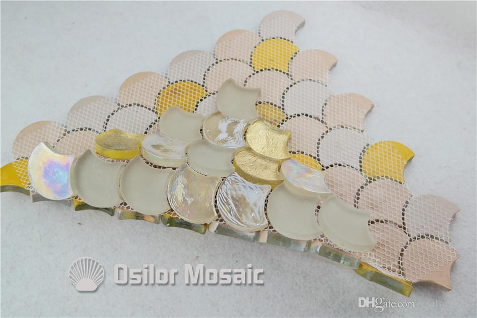 fan shaped white and yellow glass mosaic tile for interior house decoration bathroom and kitchen wall tile floor tile