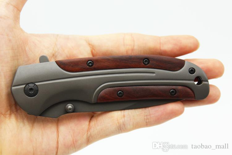 Browning DA43 Folding knife 3Cr13 Blade Rosewood Handle Titanium Tactical Knife Pocket Camping Tool fast open Hunting Survival Knife