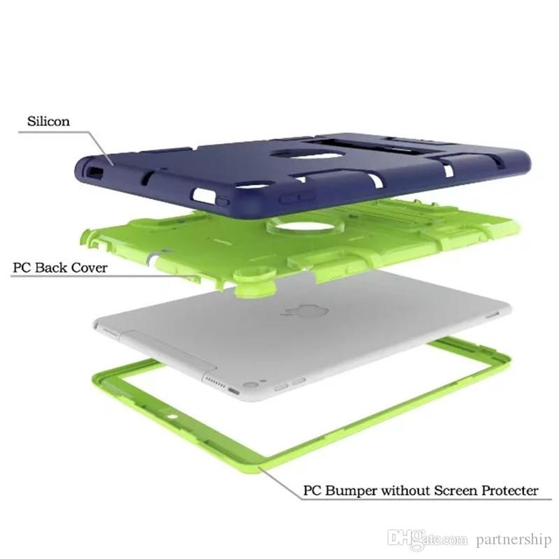 Three Layers Rugged Case With Hybrid Heavy Duty Protection KickStand for Apple iPad Min 1/2/3 4/5/6 Air Pro 9.7 10.5 with Stand