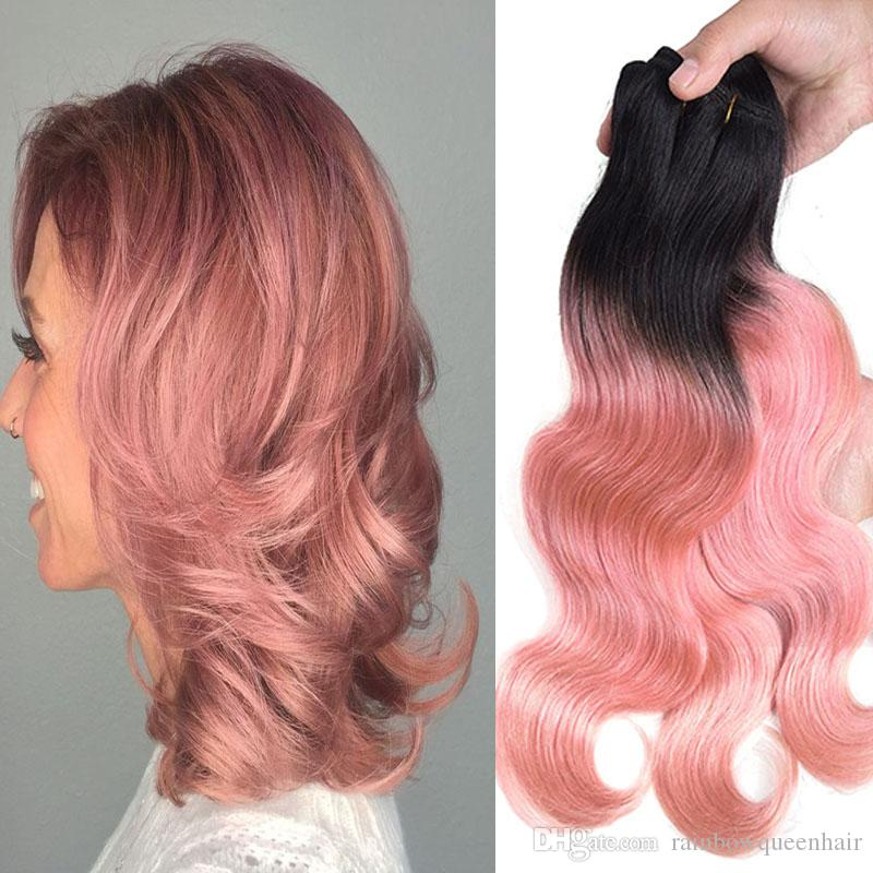 Rainbow ombre hair extensions online rainbow ombre hair rainbow queen pink weave bundles two tone brazilian weave hair 4pcs rose gold human hair extensions pink brazilian ombre body wave hair pmusecretfo Image collections
