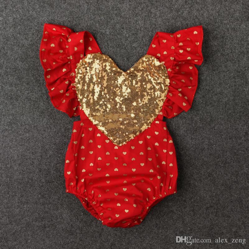 INS 여름 아기 소녀 장식 조각 사랑의 마음 장난 꾸러기 유아 장난 꾸러기 아기 소매 폴카 도트 점프 수트 발렌타인 의류 비행 falbala