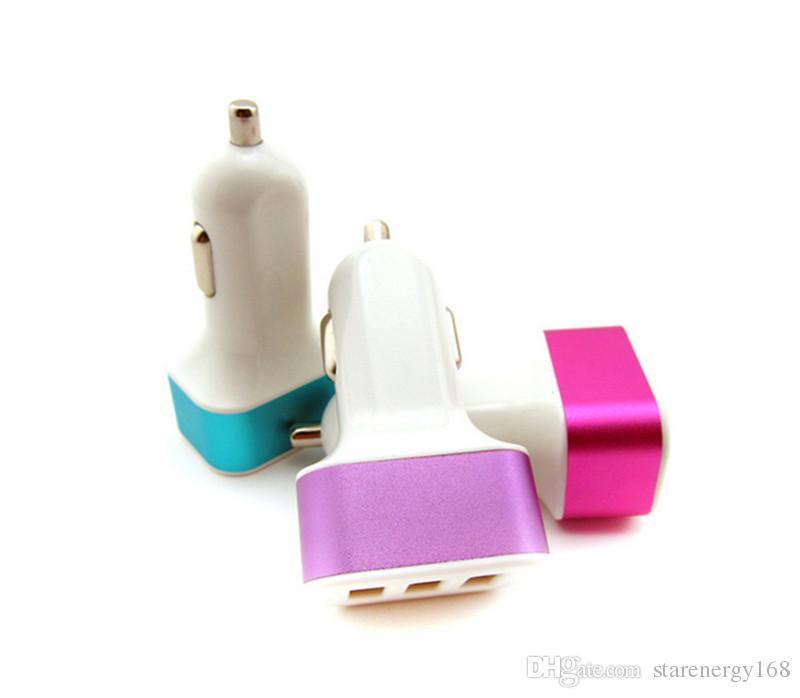 패키지 O-SC없이 168 3 포트 USB 차량용 충전기 여행 어댑터 자동차 플러그 삼중 자동차 USB 충전기 스마트 폰 태블릿 PC 스마트 폰