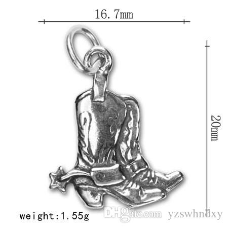 Antique Silver Plated Lucky Western Cowgirl Cowboy style Boot Charm for Bracelets Star Texas Pendant