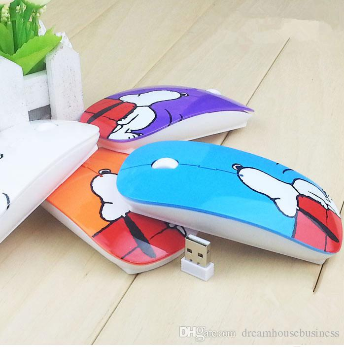 Factory Supply Fashion Snoopy 2.4G Optical Wireless Designer USB Mouse Cartoon Mice With Gift Pad For Computer PC Laptop Desktop