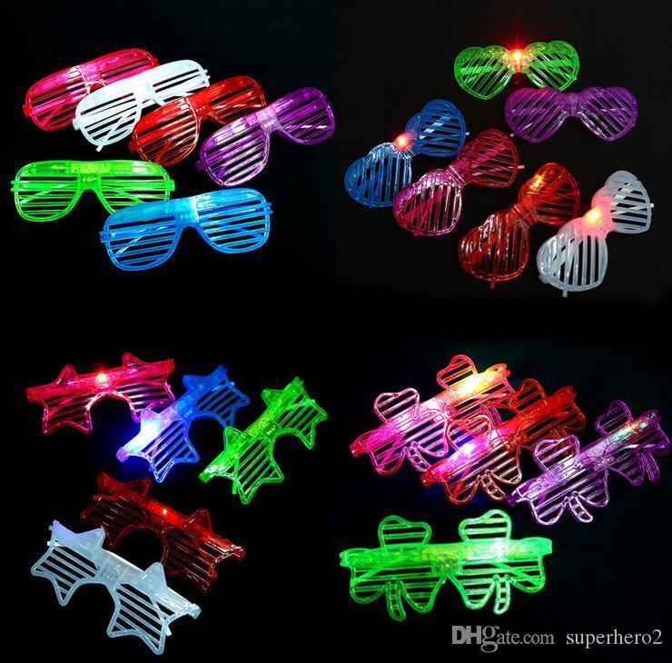 New LED flash do obturador do partido óculos decorar óculos de plástico quadrado pentagrama trevo amor light-emitting brinquedos presentes DHL livre