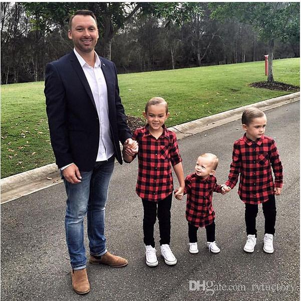 high quality cool tshirt 1-7Y Kids Boys Girls Long Sleeve T Shirt Plaids Checks Tops Blouse children cotton trendy Casual Clothes wholesale