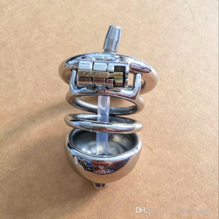 Medico Mona Lisa - Il dispositivo maschio Chastity Cage cintura con morbido tubo formato lungo in acciaio inox kit con catetere uretrale BDSM Toys