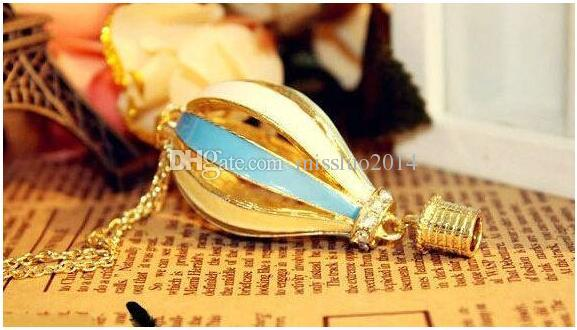 Hot New Fashion Women Colorful Jewelry Aureate Drip Hot Air Balloon Pendant Long Necklace Valentine gift DHL FEDEX