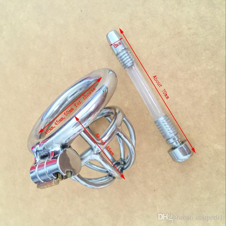 Stealth Bloqueio Masculino Aço Inoxidável Dispositivo de Castidade Superfície do Espelho BDSM Super Pequeno Gaiola Galo Com Cateter, Penis lock Cinto de Castidade S024-C