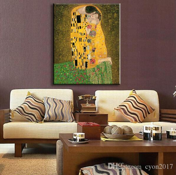 Golden Portrait The Kiss Full View by Gustav Klimt Oil painting reproduction Hand painted High quality