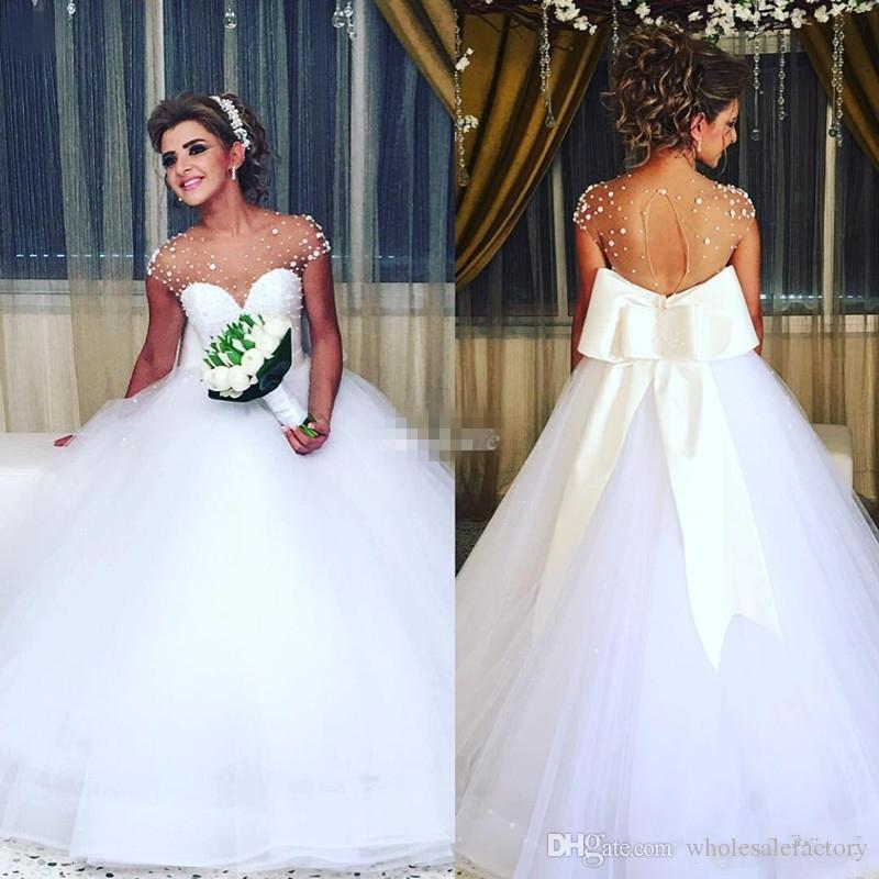 21 Gorgeous Wedding Dresses From 100 To 1 000: Romantic White Beaded Sheer Cap Sleeves Jewel Neck Wedding