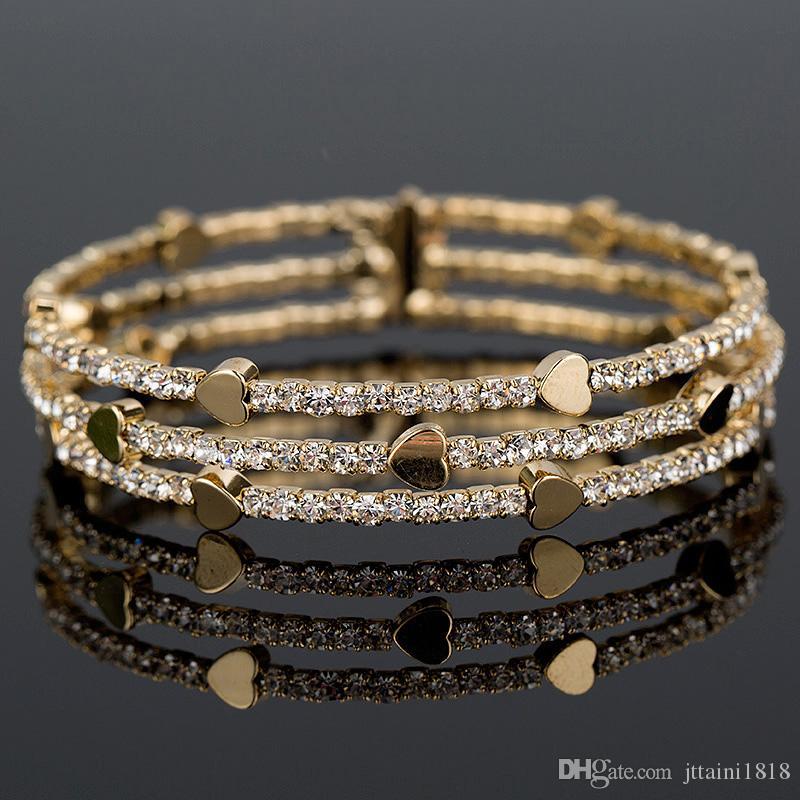 Новая мода элегантные женщины браслет 3 строки браслет Браслет Кристалл манжеты Bling Леди подарок браслеты браслеты B020