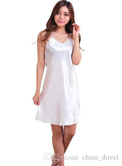 2017 dames nachtkleding singlet jurk Sleepshirts PJ's jurken korte sexy luxe vaste bruid 2 stks / partij # 4031