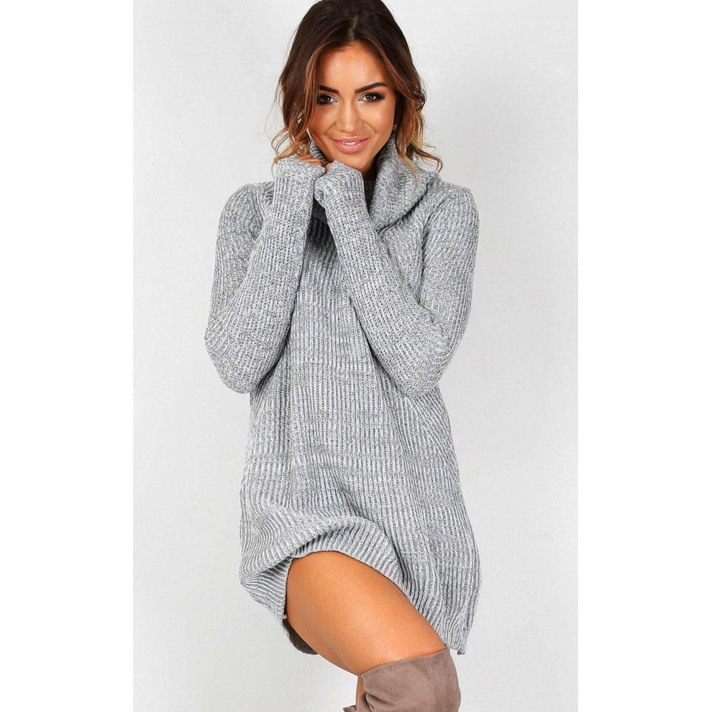 Wholesale- Turtleneck Sweater Dress Pullover Women Ladies Knitted ...
