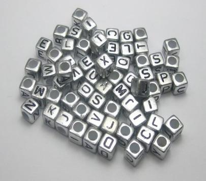 Silver Gold 6*6mm Cube Acrylic Beads Mixed Alphabet Letter Loose Spacer Beads Jewelry Accessories DIY Bracelet Necklace Making Beads