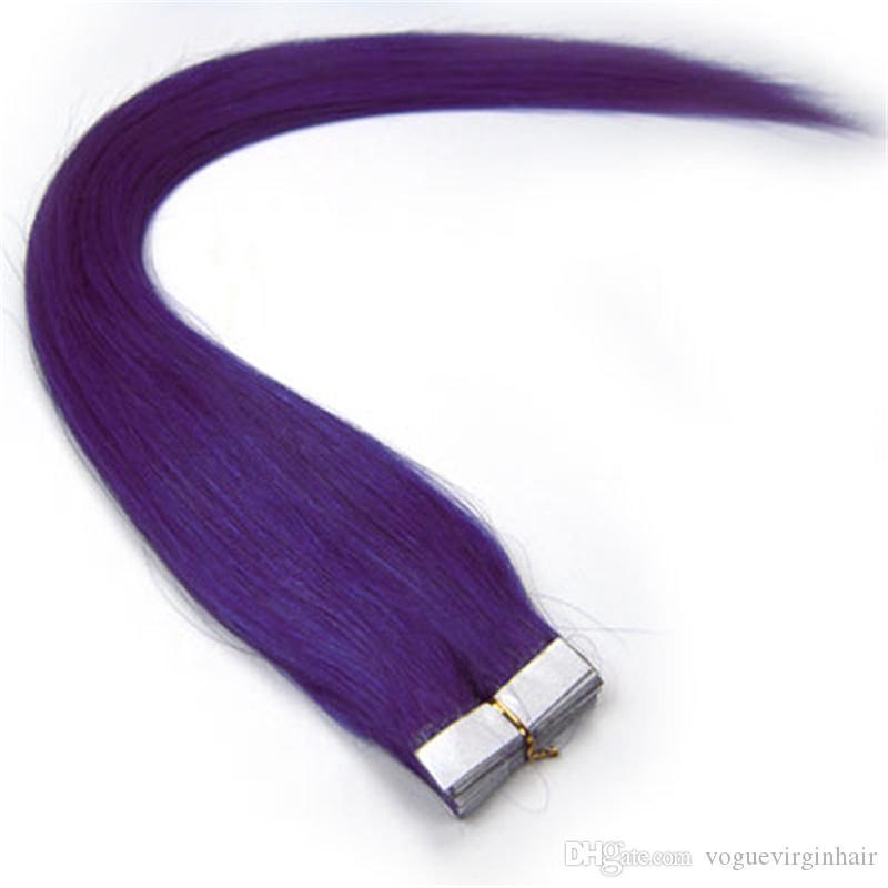 테이프 머리 확장 자연 인간의 머리 확장 실키 브라질 헤어 테이프 피부 Weft 9 색상