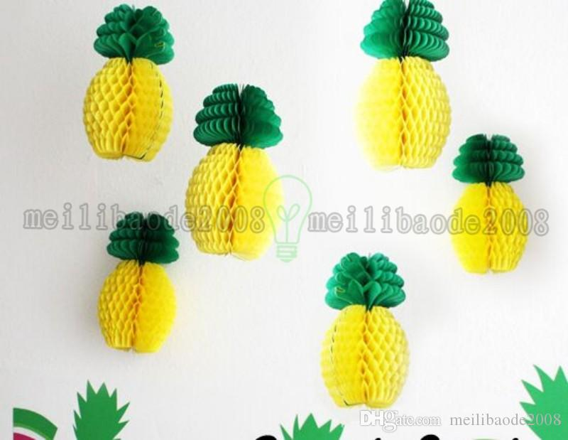 2017 NEW Pineapple Shape Honeycomb Decoration Garland Table Centerpiece Luau Party Supplies Paper Fruit Summer Beach Party RED/YELLOW MYY