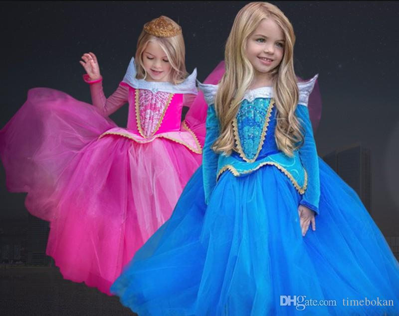 f1630f74c Halloween Cosplay Vestido de Niñas Vestidos de Cenicienta Niños Bella  Durmiente Vestido de Princesa Rapunzel Aurora Frozen Fiesta de Niños Ropa  de ...