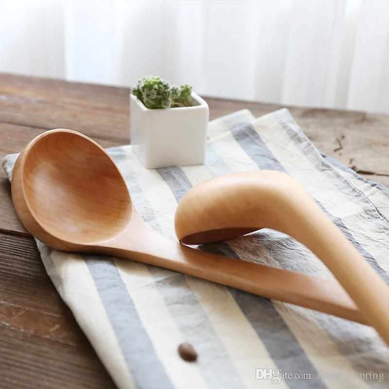 Large Wooden Ladle with Hook Long Handle Soup Serving Spoons Wood Soup Ladle Dinner Seving Spoon Kitchen Utensil Cooking Tools