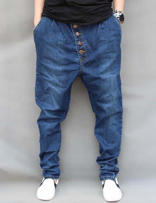 Compre Venta Al Por Mayor Gran Tamaño M 6XL Otoño Invierno Para Hombre Jeans  China Hip Hop Pantalones De Mezclilla Harem Pies Para Niños Botones Y ... b14f0b83aa1