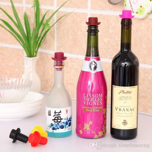 Lebensmittel-Stopfen für Homburg-Flaschen aus Silikon halten die frischen Biergeschmack-Flaschen mit roten Cowboyhut-Weinstopfen