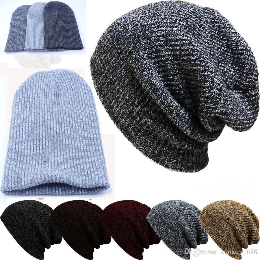 d5de1bdf627 Mens Winter Casual Cotton Knit Hats For Women Men Baggy Beanie Hat ...