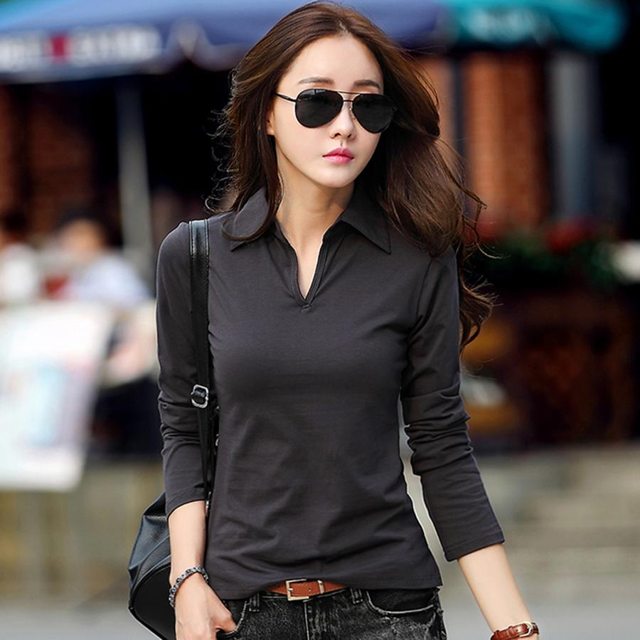 long sleeve solid t shirt women elegant tops and blouses summer