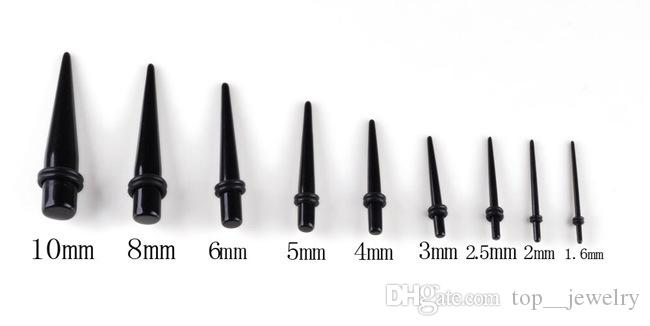 Negro UV Acrílico Ear Stretching Tapers Expander Plugs Tunnel Body Piercing Jewelry Kit Medidores a granel 1.6-10mm Pendiente Promocional Venta Caliente