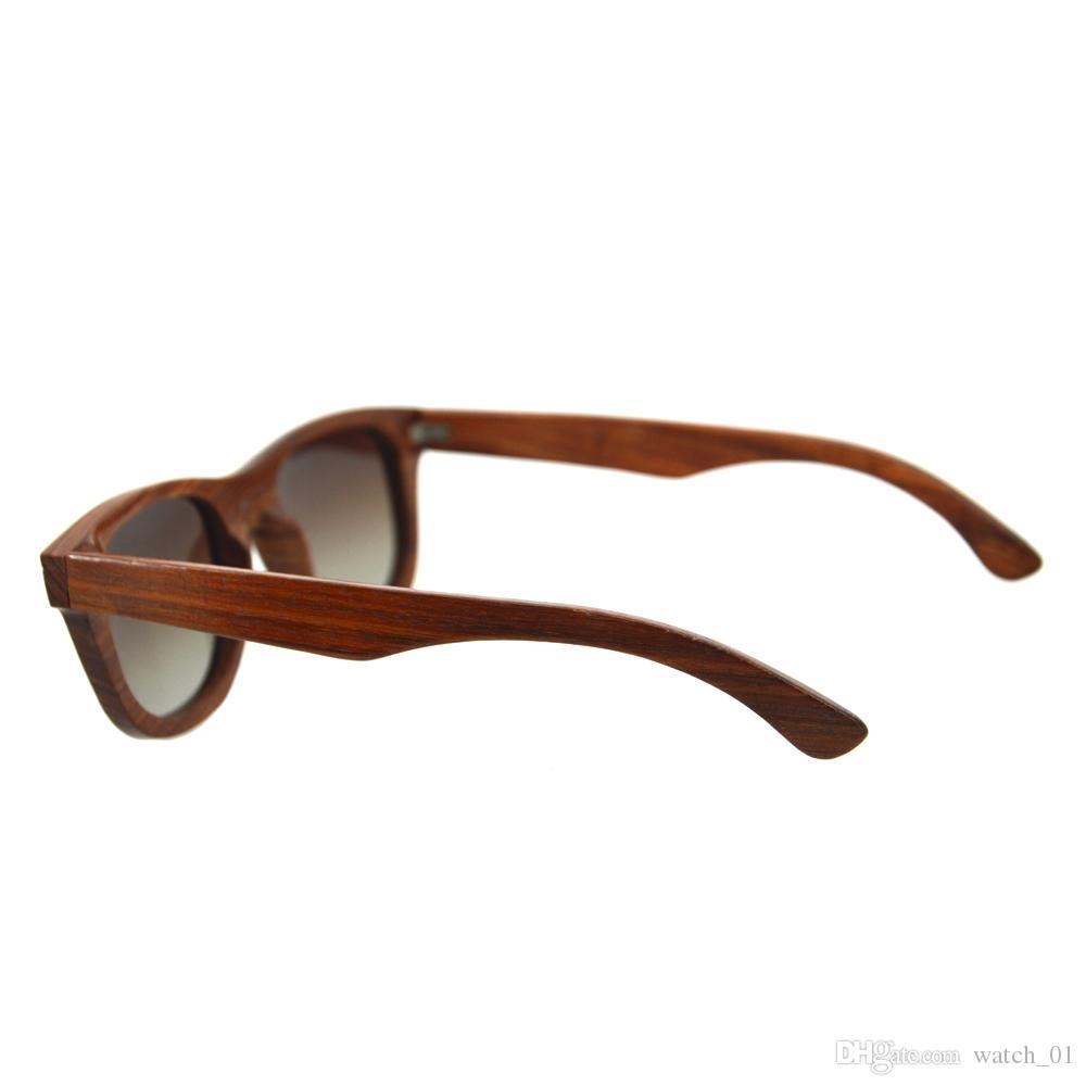 REGALI HALLOWEEN Uomo Donna Occhiali da sole a mano retrò in legno di sandalo rosso Occhiali polarizzati Occhiali da sole in legno grigio lente Occhiali da sole con scatola