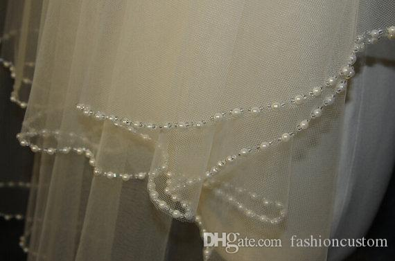 New Arrival Two Layer Beaded edge Wedding Veil Fingertip Length Pearls Bridal veil tulle with comb