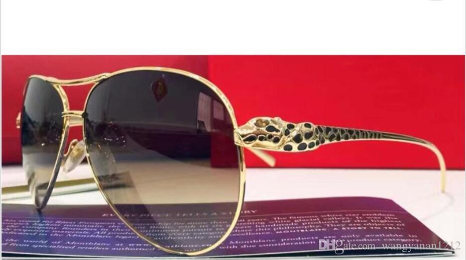 67f19e299f New Men Brand Designer Sunglasses Pilot Sunglasses Big Frame Bling Animal  Logo Legs T8200991 France Designer Leopard Retro Style Gold Plated Designer  ...