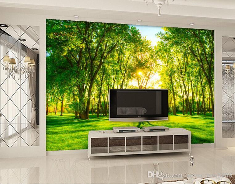 벽지 방 사용자 지정 3D 벽지 거실 녹색 숲 풍경 무료 사진 벽지