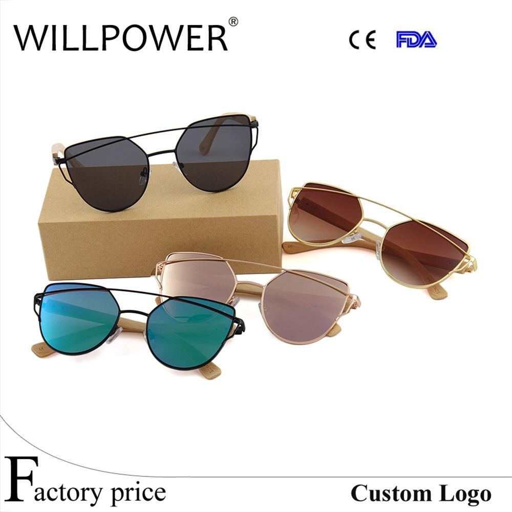 6225572624 WILLPOWER Wholesale Sun Glasses 2017 Cheap Promotion Ladies Women Flat Lens  Shades Metal Female Cateye Bamboo Sunglasses Sun Glasses Bamboo Sunglasses  Women ...
