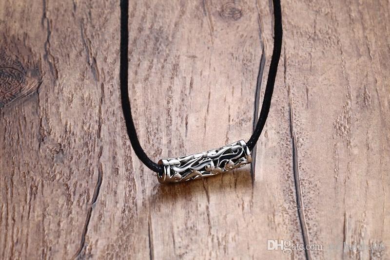 Mens женщин Choker ожерелья полые из нержавеющей стали Плетеный черный шнур Rope цепи ожерелье год сбора винограда ювелирных изделий способа