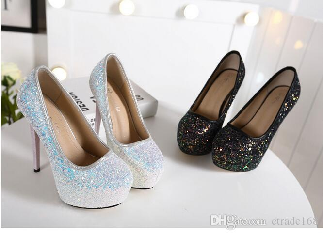 Europe America fashion new Women's high-heeled 14 cm Ultra high with Fine with sexy club Waterproof Taiwan sequins Women shoes