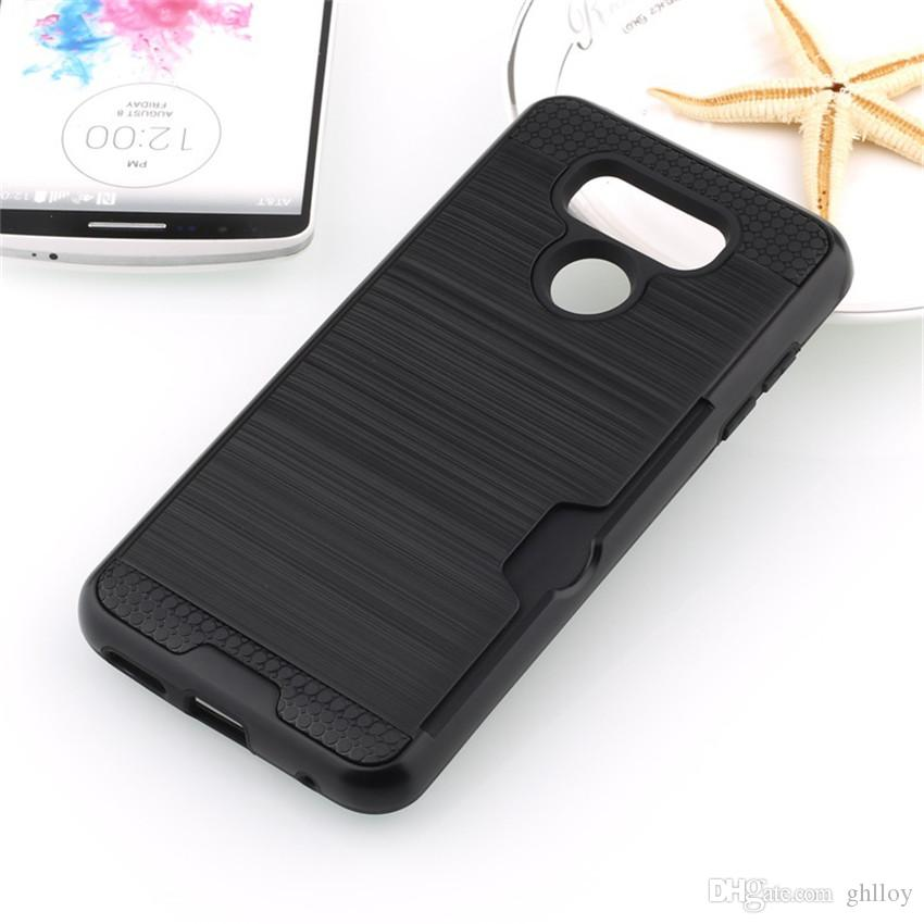Pour LG G6 Cas de Carte Cas de Portefeuille cas TPU + PC Support de Carte Hybride Cas de Téléphone portable Pour LG g5