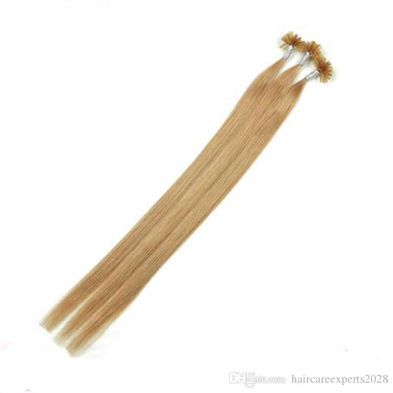 "100s/pack 18""20""22''24''Remy human hair Nail Tip/U Tip Human Hair Extensions#4#6#8 Dark brown"