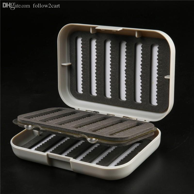 High Quality Plastic Small Tackle Box For Fishing 125*88*34MM White Swingleaf Fly Fishing Box Two Sided Trout Flies Foam Box Insert Case