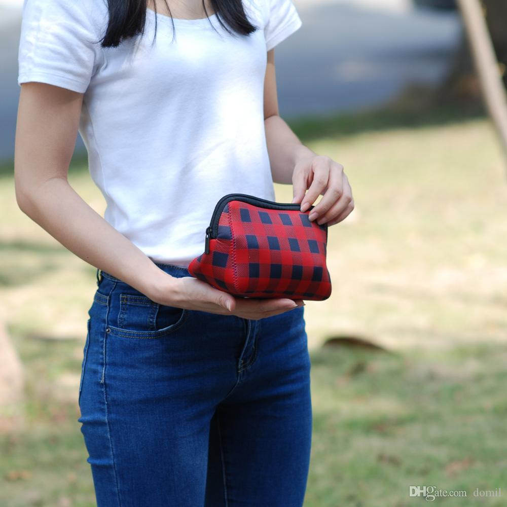 Triangle Christmas Check Cosmetic Case Neoprene Buffalo Plaid Makeup Bag Women Accessories Hand Bag DOM106529